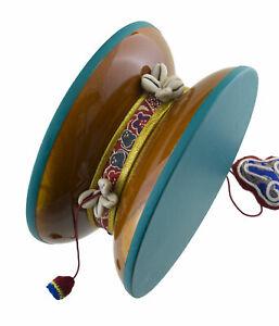 Large-Tambourine-Damaru-Tibetan-Ritual-Chod-8-5-16in-Wood-Santang-Nepal-26604
