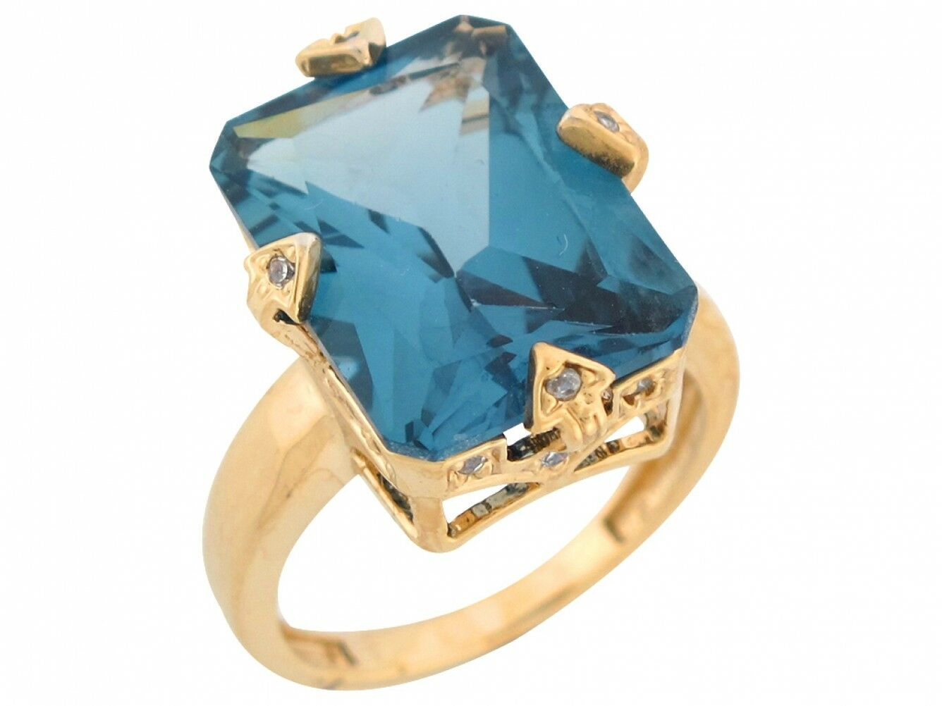 10k or 14k Yellow gold Simulated bluee Zircon White CZ Accent Fancy Ladies Ring