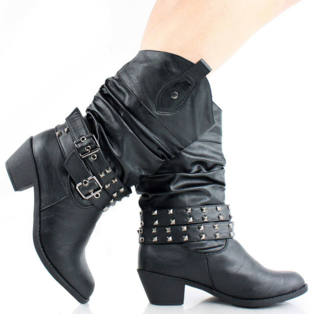 Womens Cowboy Boots Western Shoes Cowgirl Heels Slouch Roper Studded Buckle Stud