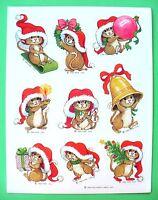 Vintage 1984 Hallmark Christmas Cute Santa Mice 1 Sticker Sheet