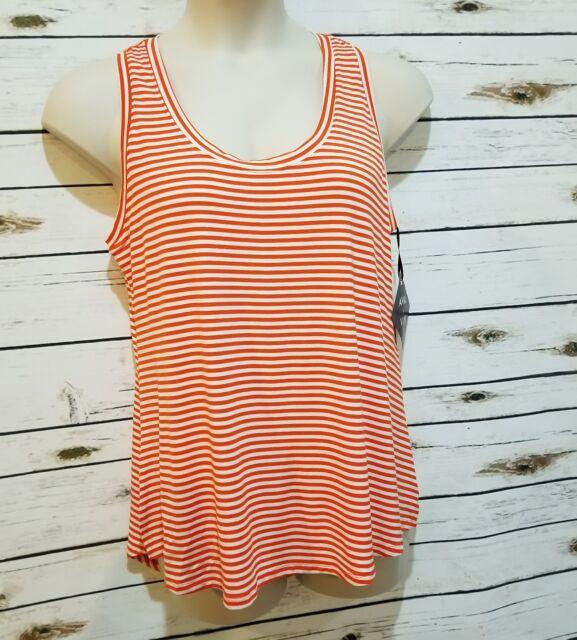 e78e4267b6 Womens Tank Top 2 Shirts 14w Orange White Blue Striped Ava Viv for sale  online