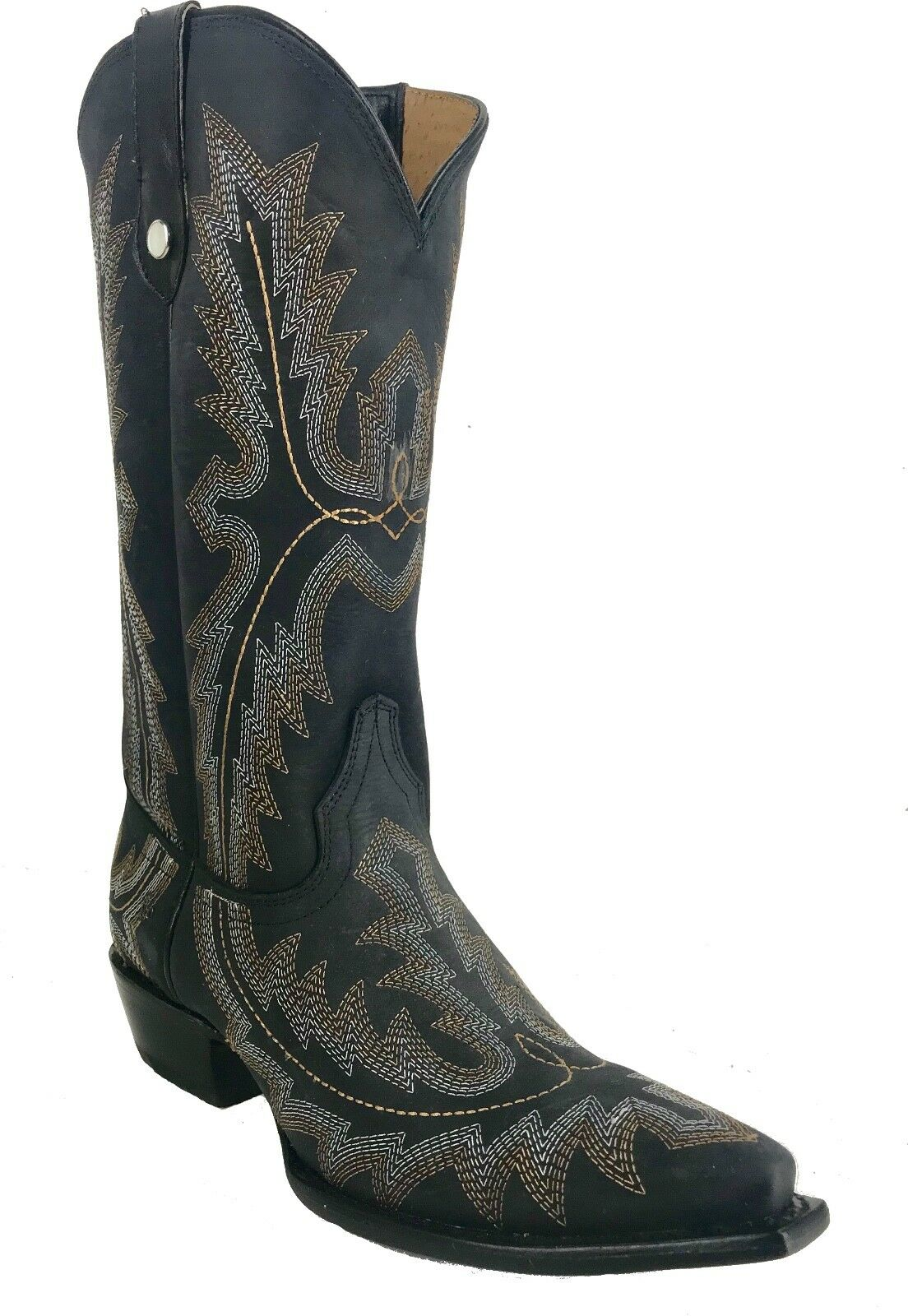 Women's New Leather Cowgirl Western Biker Boots Snip Black Sale