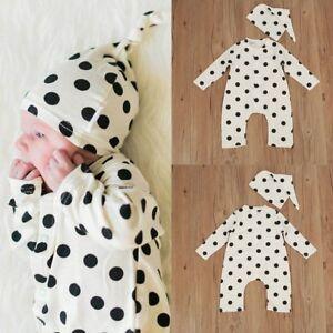 Newborn-Infant-Baby-Boy-Girl-Cotton-Romper-Jumpsuit-Bodysuit-Hat-Clothes-Outfits