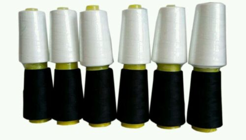 6pcs 4000 YARD OVERLOCKER SEWING MACHINE THREAD BLACK AND WHITE WHOLESALE