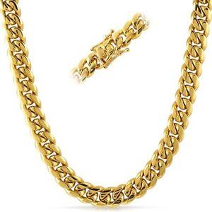 9ccb8335899c7 12mm 14K Gold IP Top Quality Mens Miami Cuban Link Chain   eBay