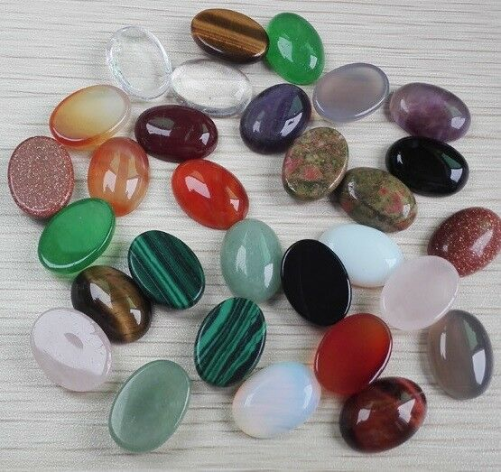 Two 7x5mm Oval Cabochons Semi Precious Stone Flat Back Choice Of