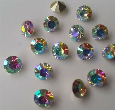 100pcs 6mm AB SS28 Crystal beads Point back Rhinestones Glass Chatons Strass