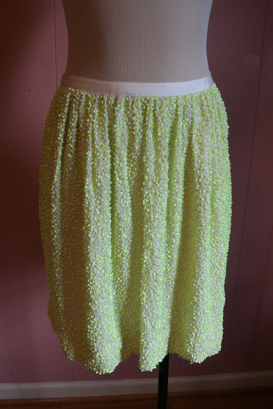 JCrew Collection Sequined Silk Mini Skirt Size 6 Neon Yellow Sequins
