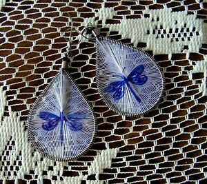 EXQUISITE-DRAGONFLY-THREAD-EARRINGS-3-25-In-High-x-1-5-Inches-Wide