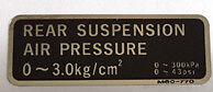 HONDA VFR1000R FORK AIR PRESSURE CAUTION WARNING LABEL DECAL