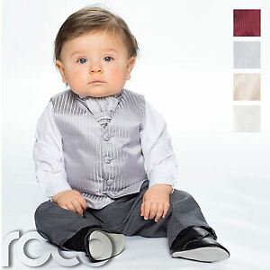 a7f0669c5a62 Baby Boys Waistcoat Suit, Page Boy Suits, Grey Trousers, Striped ...