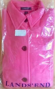 Size 10-12 New. Medium Lands/' end Peony pink fleece jacket