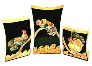 """Judy Shelly Three Vase Set Roosters on Branches Black Gold Rare 9.75"""" Tall"""