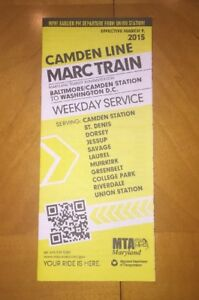 Details about 2015 MTA Maryland MARC Train Map & Schedule - Camden Line