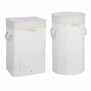 Image Is Loading Kankyo White Bamboo Laundry Hampers Cylinder Rectangle Bathroom