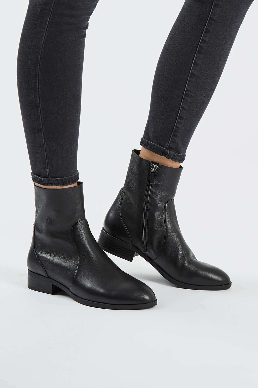 TOPSHOP 'klash' black leather ankle sock boots uk 7 eu 40 us 9.5