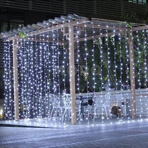 3M-3M-300LEDs-White-Mesh-Net-Curtain-Fairy-String-Lighting-F-Party-Xmas-Wedding