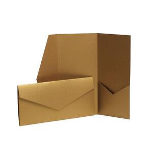 Shiny Gold Pocketfold Wedding Invitations Envelope Style Cards