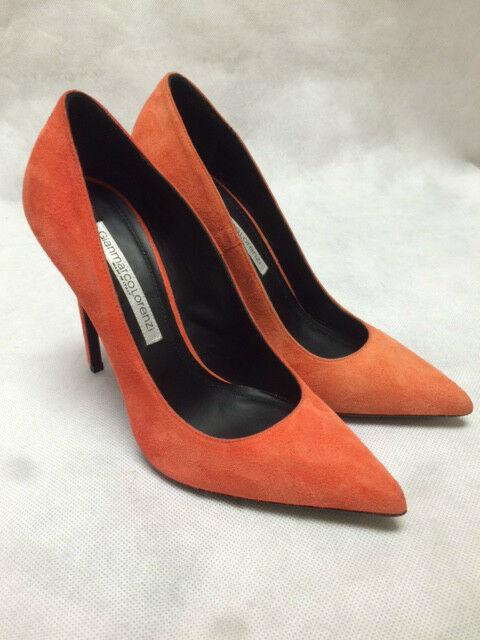 Gianmarco Lorenzi Suede Coralallo Orange Heels. P4D0A1101.   Größe 38.