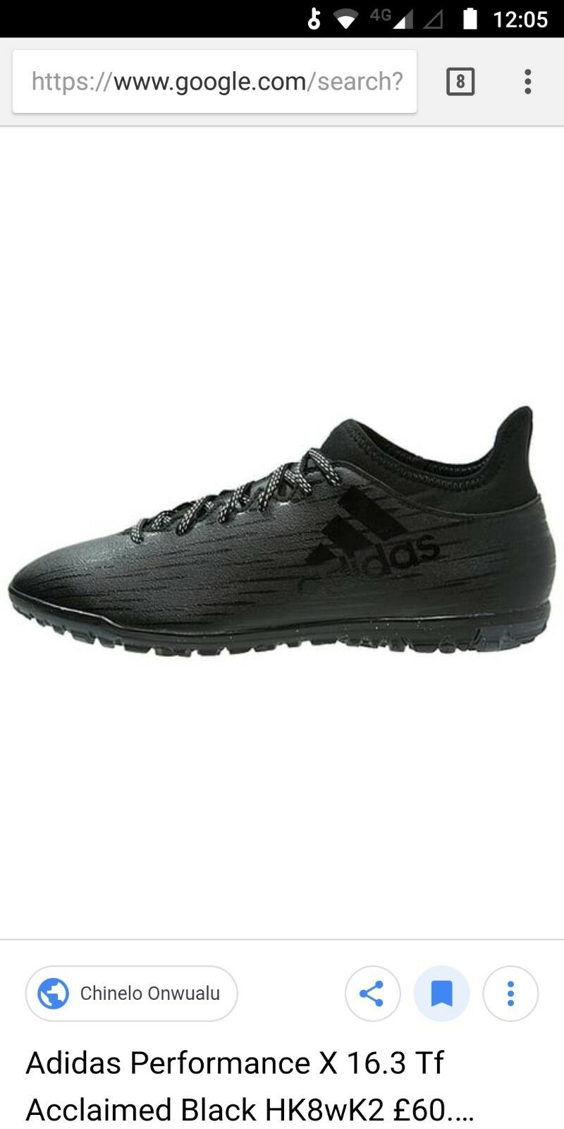 Adidas X 16.3 TF size 7 new black trainers