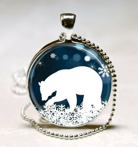 Polar Bear Collier Noël Bijoux Bleu Et Blanc Flocon de neige Art Pendentif