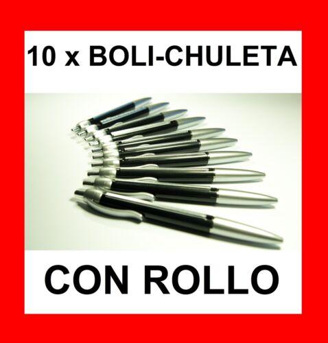 ESTUDIANTE TRAMPA PEN 10 x BOLIGRAFO CHULETA CON ROLLO BOLI PARA LOS EXÁMENES
