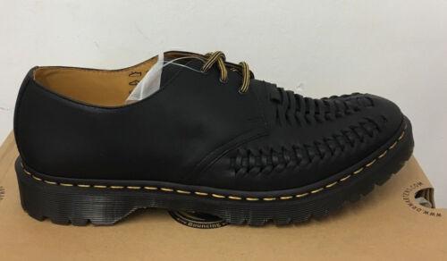 Reino Dr zapatos Ezra Martens negro graso cuero tamaño Unido de envejecido 12 SzzqnT