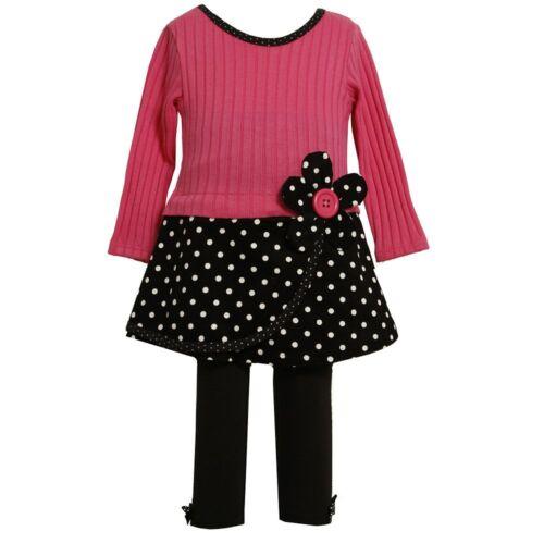 NWT Bonnie Jean Baby Girls Pink Black Dotted Dress Leggings Set 24M DRESSY CUTE