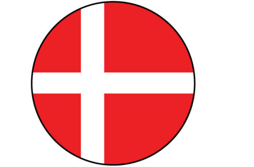 5 x DENMARK 15 cm x 15 cm each DANISH FLAG FILLED IN A CIRCLE SHAPE STICKER