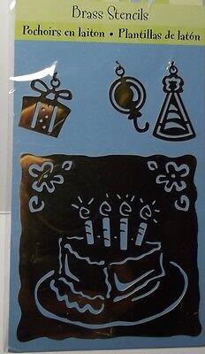 46766 Birthday Cake Plaid All Night Media Brass Embossing Stencil /& Charms