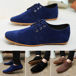 Men-Casual-Canvas-Suede-Shoes-Dress-Formal-Oxfords-Lace-Up-Flats-Loafer-Sneakers