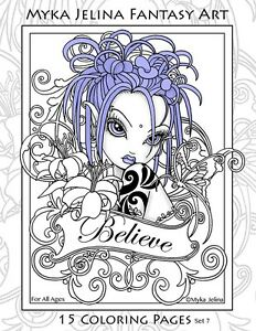 Image Is Loading Myka Jelina Coloring Pages Flower Fairy Big Eyed