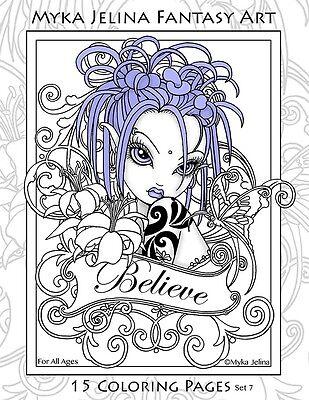 Myka Jelina Coloring Pages Flower Fairy Big Eyed Angels Set 7 Ebay