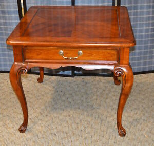 Details About Drexel Heritage Queen Anne Style Cherry Accent Table W/Drawer