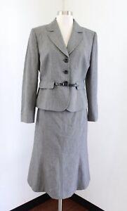 Tahari ASL Levine Womens Gray Skirt Suit Set Size 10P Belted Blazer Career