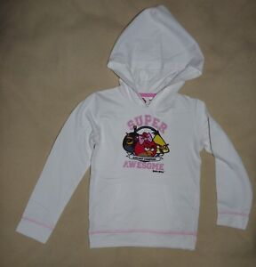 Sweat-shirt-blanc-a-capuche-leger-fille-5-ans-ANGRY-BIRDS-C-amp-A-TBE