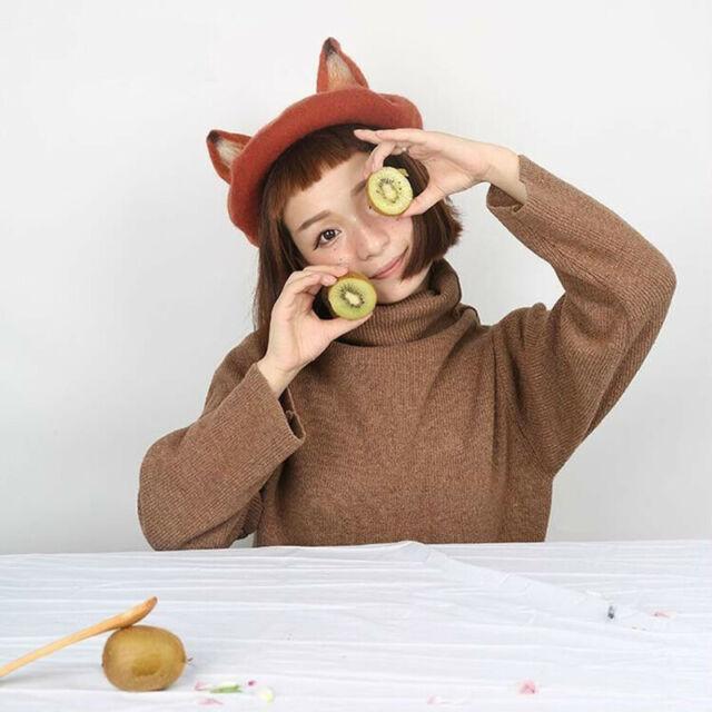 Girl birthday gift Woman Girl/'s Gift Handmade Animal Ears Beret Needle Wool Hat Fox Beret Cute Kawaii Animal Beret