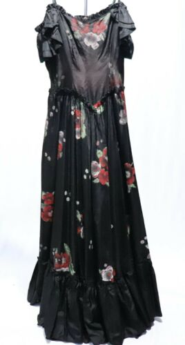 Vintage 30s 40s Gown Hand Painted Dress