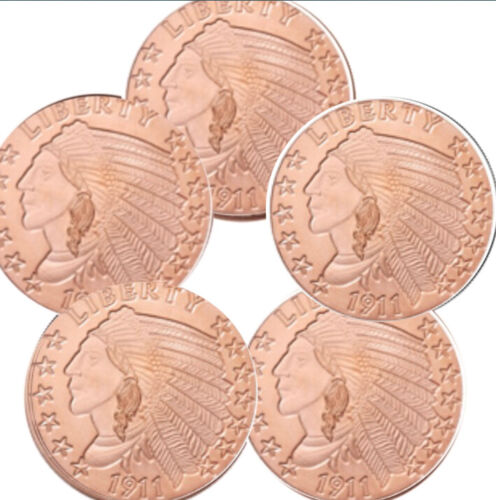 Lot of 100-1 oz Copper Rounds Incuse Indian