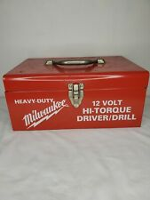 Heavy Duty Milwaukee Tool Box Red Metal 12 Volt Hi Torque Driver Drill Box Only