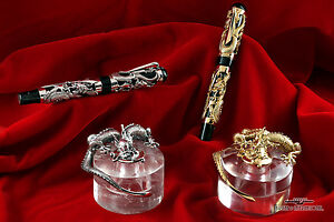 Montegrappa-1995-Dragon-LE-Gold-FP-amp-Silver-FP-Matching-Set-with-Inkwells
