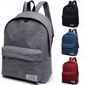 92b7acf0bcd Image is loading UK-Women-Men-Shoulder-Canvas-Backpack-Rucksack-School-
