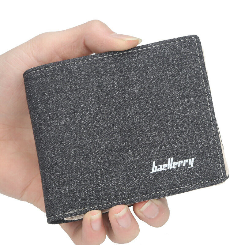 Canvas Slim Wallet for Men Credit Card Holder Cash Billfold Front Pocket Clutch