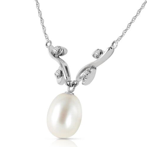 "4.02 CTW 14K Solid White gold fine pearl Diamond Necklace 16-24/"""