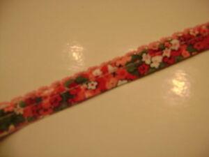 2 Mètres De Galon Dentelle Double Coloris Rouge,rose, Vert Et Blanc N°386