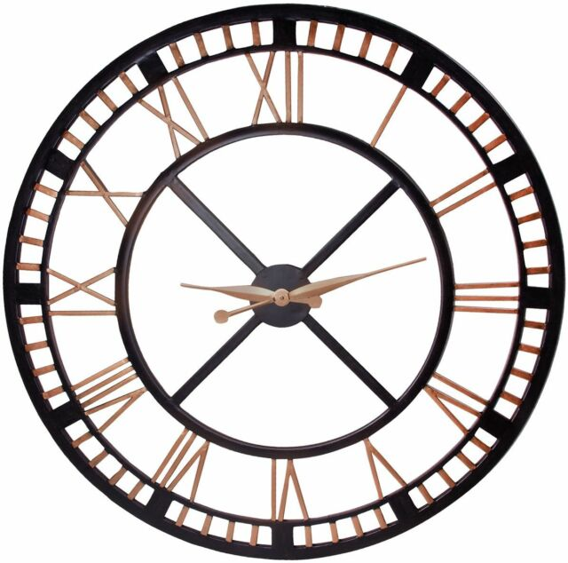 Extra Large Wall Clocks Part - 32: Extra Large Wall Clock-large Iron Wall Clock With Roman Numbers Open Face  Design
