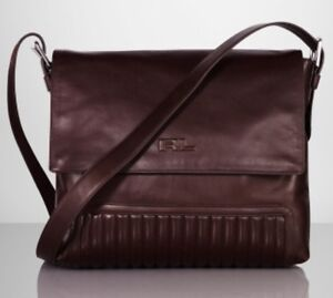 Label Lauren bandoulière Black Marron cuir 100authentique Ralph Sac en matelassé 0vmN8nw