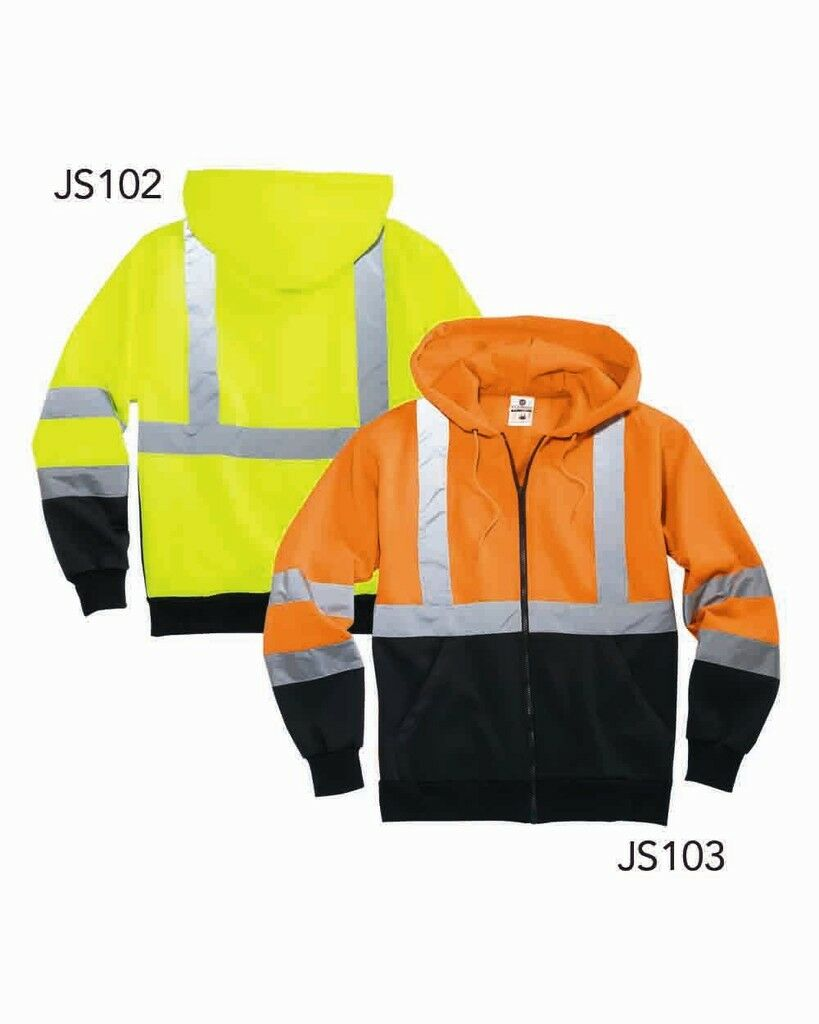 High Visibility Hooded Full Zip Sweatshirt Class 3 S-5X Safety Hoodie