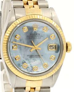 Da Uomo Vintage Rolex Oyster Perpetual Datejust 36mm Blu SCOPA Diamond Dial Orologio