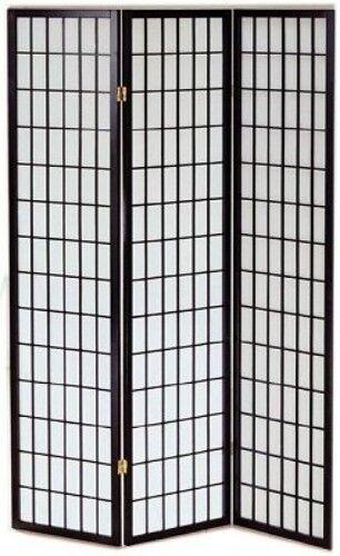 Paravento in Legno tinta nero e carta di riso con 3 ante Ripiegabili cm.43,5x178